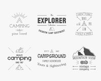 Set of vintage explorer, mountain, forest logo Stock Photography