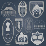 Set of vintage fashion and clothes style logos. Vector logo temp Stock Photos