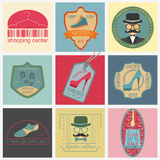 Set of vintage fashion and clothes style logos. Vector logo temp Royalty Free Stock Photo