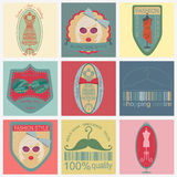 Set of vintage fashion and clothes style logos. Vector logo temp Royalty Free Stock Image