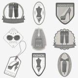 Set of vintage fashion and clothes style logos. Vector logo temp Stock Photos