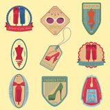 Set of vintage fashion and clothes style logos. Vector logo temp Royalty Free Stock Photos
