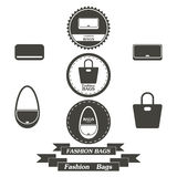 Set of vintage fashionably bags logos, emblems and elements Royalty Free Stock Image