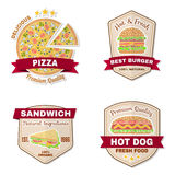 Set of vintage fast food badges, banners and logo emblems. Royalty Free Stock Images