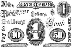 Set of Vintage Financial Grpahic Elements. Old, distressed black and white financial and banking elements from 1870 through 1920.  Numbers and words, isolated on Stock Photo