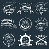 Set of vintage fishing labels, badges Royalty Free Stock Photos