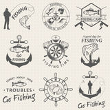 Set of vintage fishing labels, badges Royalty Free Stock Photography