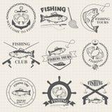 Set of vintage fishing labels, badges royalty free illustration