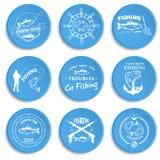 Set of vintage fishing labels, badges Stock Images