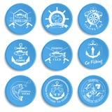 Set of vintage fishing labels, badges Stock Photos