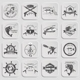 Set of vintage fishing labels, badges and design elements. Royalty Free Stock Photo