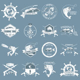 Set of vintage fishing labels, badges and design elements. Stock Photos