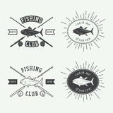 Set of vintage fishing labels, logo, badge and design elements. Royalty Free Stock Images