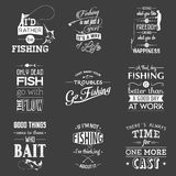 Set of vintage fishing typographic quotes royalty free illustration