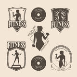 Set of vintage fitness emblem, logo, icons Stock Images