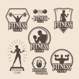 Set of vintage fitness emblem, logo, icons Royalty Free Stock Image
