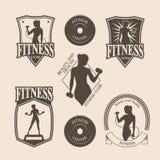 Set of vintage fitness emblem, logo, icons. Set of vintage fitness emblems, labels, badges, logo and designed elements Stock Images