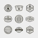 Set of vintage fitness gym logos. vector illustration royalty free stock images