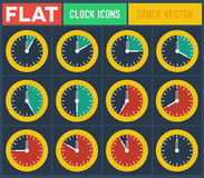 Set of vintage flat clocks Stock Image