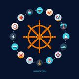 Set of vintage flat design modern nautical, marine Stock Images