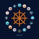 Set of vintage flat design modern nautical, marine Stock Images