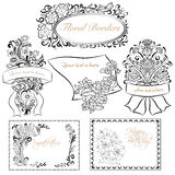 Set of Vintage  floral borders and design elements. Stock Images