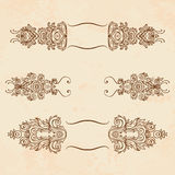 Set of vintage floral  design elements Royalty Free Stock Images