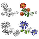 Set of vintage floral designs isolated on a white background. Set of vintage floral designs black and white and color isolated on a white background Stock Photos