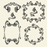 Set of vintage floral frames and design elements - vector illustration Royalty Free Stock Image