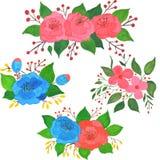 Set of vintage floral gouache bouquet of rose. Flowers decoration vector illustration