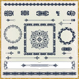 Set of vintage floral pattern design elements Stock Photo