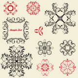 Set of vintage floral pattern elements Stock Photography