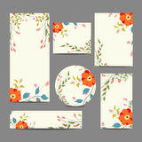 Set of vintage floral wedding invitation cards Stock Images