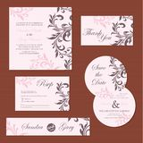 Set of vintage floral wedding invitation cards Royalty Free Stock Photo