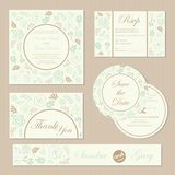 Set of vintage floral wedding invitation cards Royalty Free Stock Images