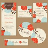 Set of vintage floral wedding invitation cards Royalty Free Stock Photos