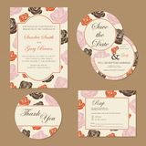 Set of vintage floral wedding invitation cards Royalty Free Stock Image