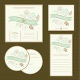 Set of vintage floral wedding invitation cards Stock Photos