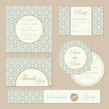 Set of vintage floral wedding invitation cards Royalty Free Stock Image