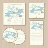 Set of vintage floral wedding invitation cards Stock Photo
