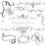 Set of vintage flourish decorative art calligraphy whorls for design. Vector illustration EPS10.  vector illustration
