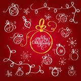 Set of vintage flourish doodle Christmas balls. vector design elements. Design for Xmas Holiday greeting card. Merry Stock Image