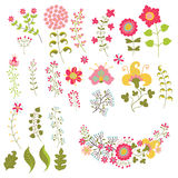 Set of vintage flowers elemments.Flowers,branches,berries Stock Photography