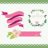 Set of vintage flowers and ribbons Royalty Free Stock Image