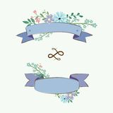 Set of vintage flowers and ribbons Royalty Free Stock Photography