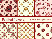 Set vintage flowers seamless vector pattern. Natural berry background Royalty Free Stock Image