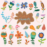 Set of vintage flowers. Vector collection Stock Photo
