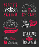 Set of vintage food typographic quotes Royalty Free Stock Photos