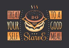 Set of Vintage Food Typographic Quotes Royalty Free Stock Photo