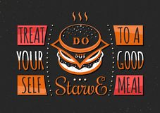 Set of Vintage Food Typographic Quotes Stock Images